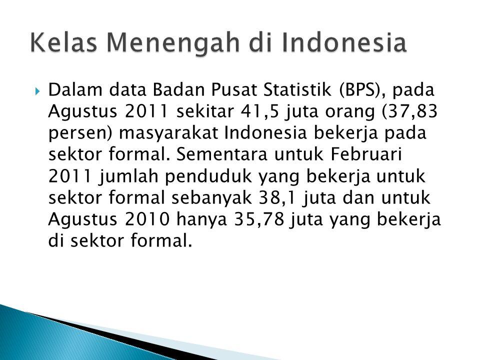  Dalam data Badan Pusat Statistik (BPS), pada Agustus 2011 sekitar 41,5 juta orang (37,83 persen) masyarakat Indonesia bekerja pada sektor formal.