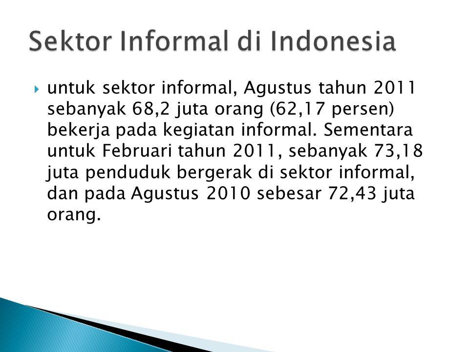  untuk sektor informal, Agustus tahun 2011 sebanyak 68,2 juta orang (62,17 persen) bekerja pada kegiatan informal.