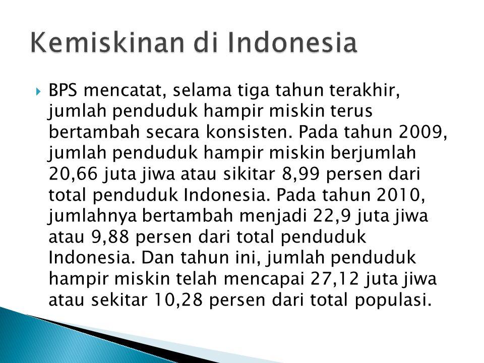  BPS mencatat, selama tiga tahun terakhir, jumlah penduduk hampir miskin terus bertambah secara konsisten.