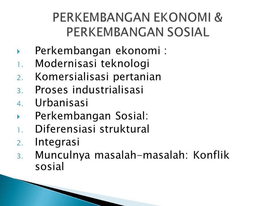  Perkembangan ekonomi : 1. Modernisasi teknologi 2.