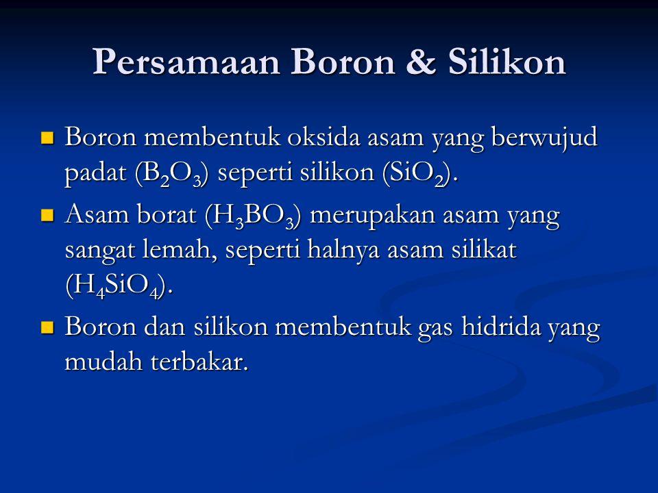 Kegunaan Boron Boron merupakan komponen vital dalam pembangkit listrik tenaga nuklir Boron merupakan komponen vital dalam pembangkit listrik tenaga nuklir Borax [Na 2 B 4 O 5 (OH) 4.8H 2 O] dan NaBO 3 (dalam deterjen) berguna sebagai agen pembersih Borax [Na 2 B 4 O 5 (OH) 4.8H 2 O] dan NaBO 3 (dalam deterjen) berguna sebagai agen pembersih Borat berguna sebagai bahan pengawet untuk kayu dan pelindung tahan api untuk kain.