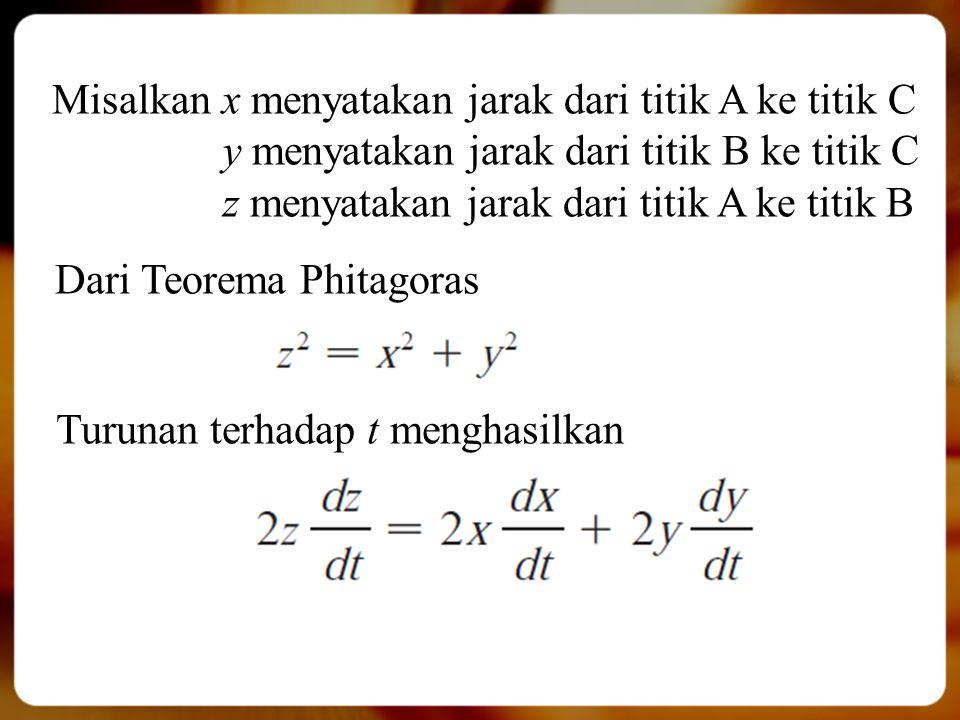Misalkan x menyatakan jarak dari titik A ke titik C y menyatakan jarak dari titik B ke titik C z menyatakan jarak dari titik A ke titik B Dari Teorema