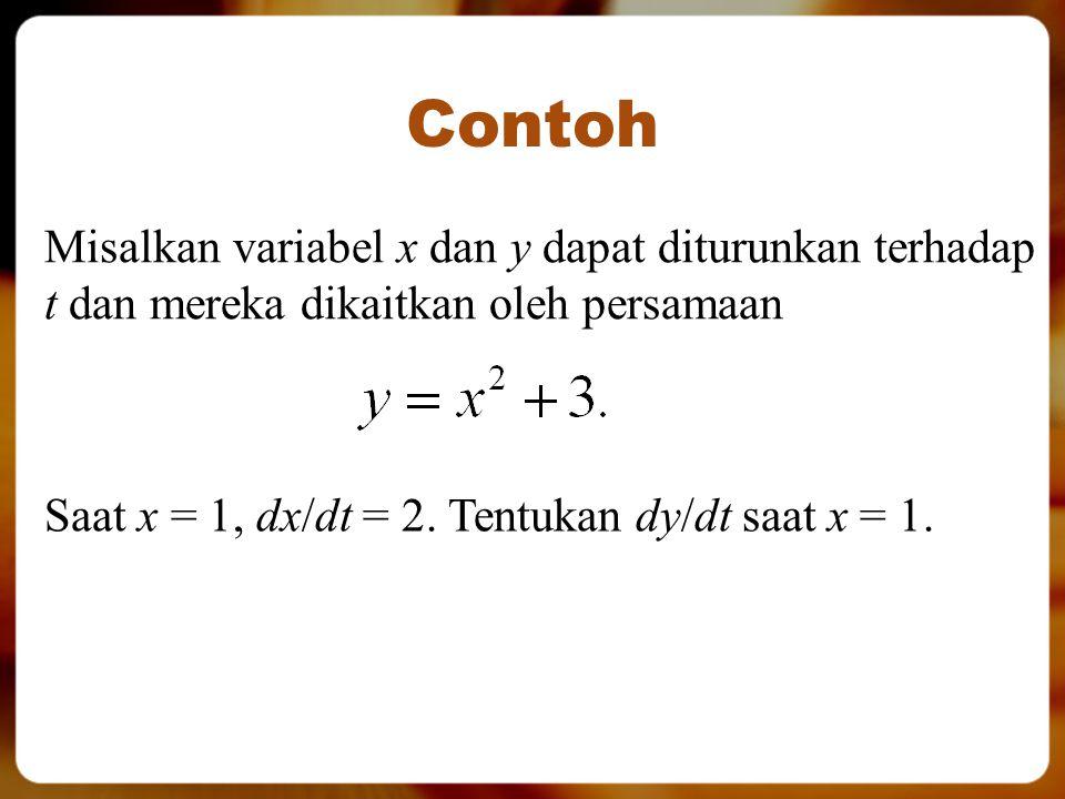 Contoh Misalkan variabel x dan y dapat diturunkan terhadap t dan mereka dikaitkan oleh persamaan Saat x = 1, dx/dt = 2. Tentukan dy/dt saat x = 1.