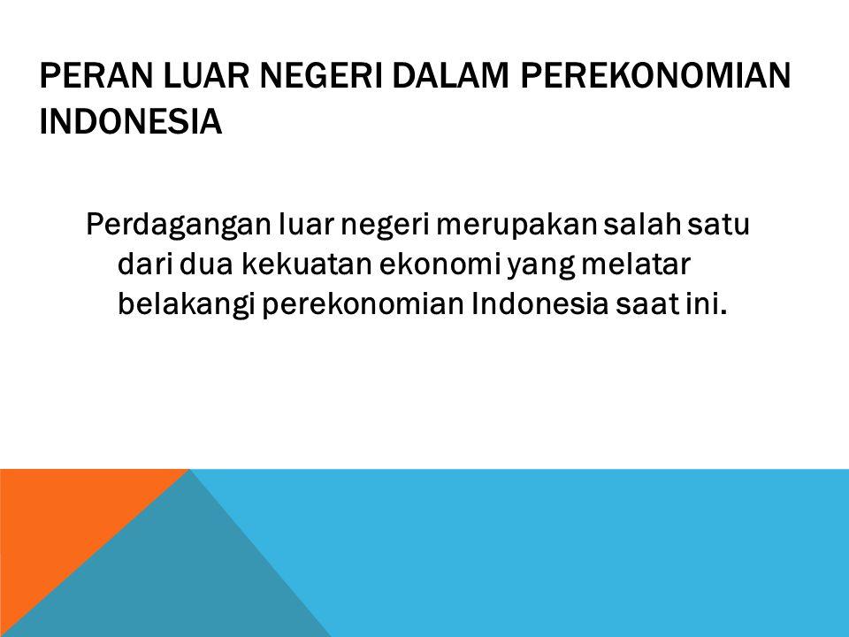 PERAN LUAR NEGERI DALAM PEREKONOMIAN INDONESIA Perdagangan luar negeri merupakan salah satu dari dua kekuatan ekonomi yang melatar belakangi perekonomian Indonesia saat ini.