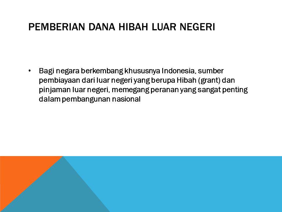PEMBERIAN DANA HIBAH LUAR NEGERI Bagi negara berkembang khususnya Indonesia, sumber pembiayaan dari luar negeri yang berupa Hibah (grant) dan pinjaman luar negeri, memegang peranan yang sangat penting dalam pembangunan nasional