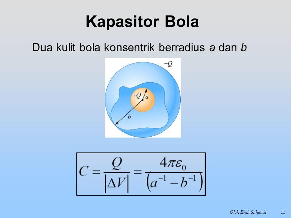 Oleh Endi Suhendi11 Kapasitor Bola Dua kulit bola konsentrik berradius a dan b