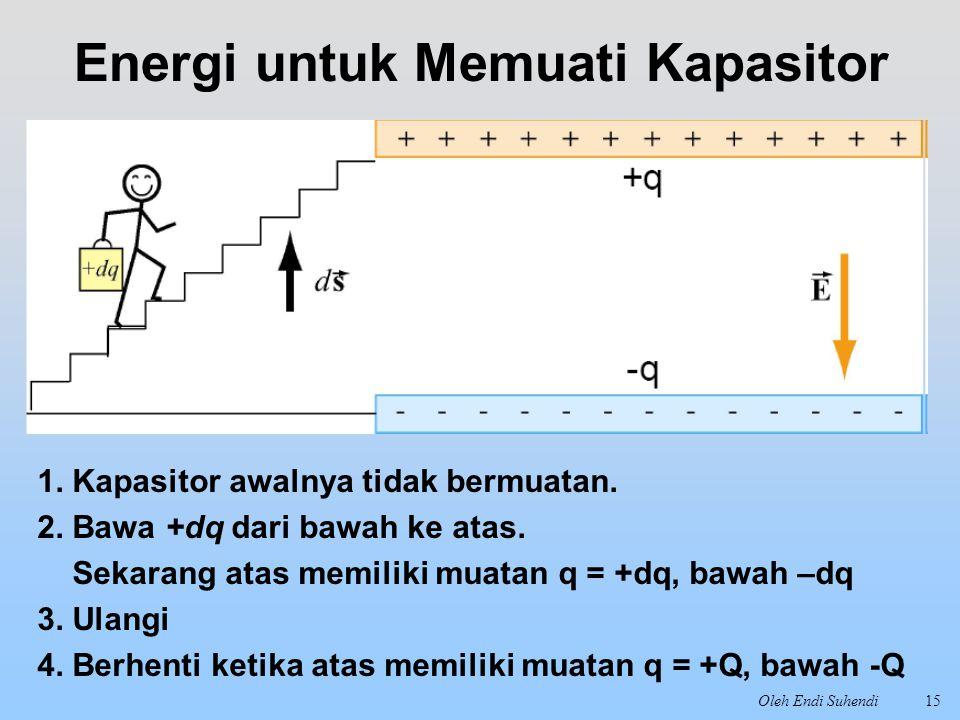 Oleh Endi Suhendi15 Energi untuk Memuati Kapasitor 1. Kapasitor awalnya tidak bermuatan. 2. Bawa +dq dari bawah ke atas. Sekarang atas memiliki muatan