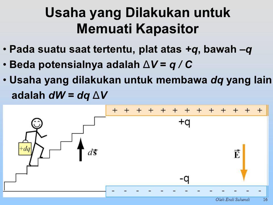 Oleh Endi Suhendi16 Pada suatu saat tertentu, plat atas +q, bawah –q Beda potensialnya adalah ΔV = q / C Usaha yang dilakukan untuk membawa dq yang la