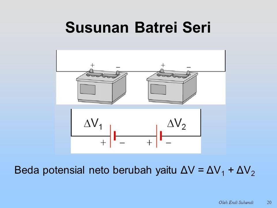 Oleh Endi Suhendi20 Susunan Batrei Seri Beda potensial neto berubah yaitu ΔV = ΔV 1 + ΔV 2