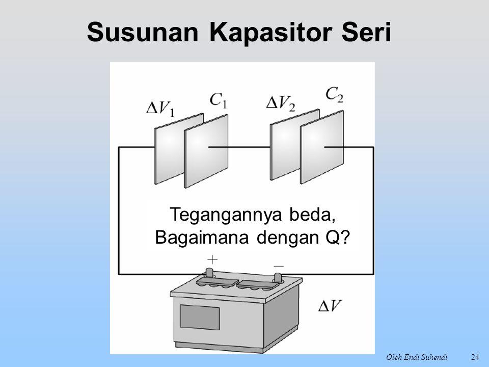 Oleh Endi Suhendi24 Susunan Kapasitor Seri Tegangannya beda, Bagaimana dengan Q?