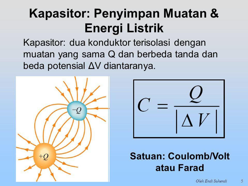 Oleh Endi Suhendi5 Kapasitor: Penyimpan Muatan & Energi Listrik Kapasitor: dua konduktor terisolasi dengan muatan yang sama Q dan berbeda tanda dan be