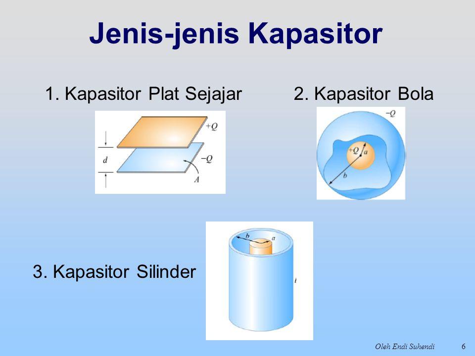 Oleh Endi Suhendi Jenis-jenis Kapasitor 6 1. Kapasitor Plat Sejajar2. Kapasitor Bola 3. Kapasitor Silinder