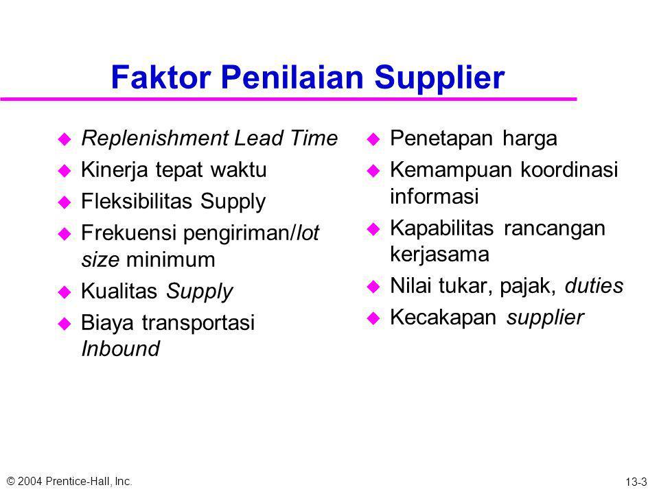 © 2004 Prentice-Hall, Inc. 13-2 Peranan Sourcing dalam Supply Chain u Keputusan membuat atau membeli u Kecenderungan: outsourcing pada logistik dan su
