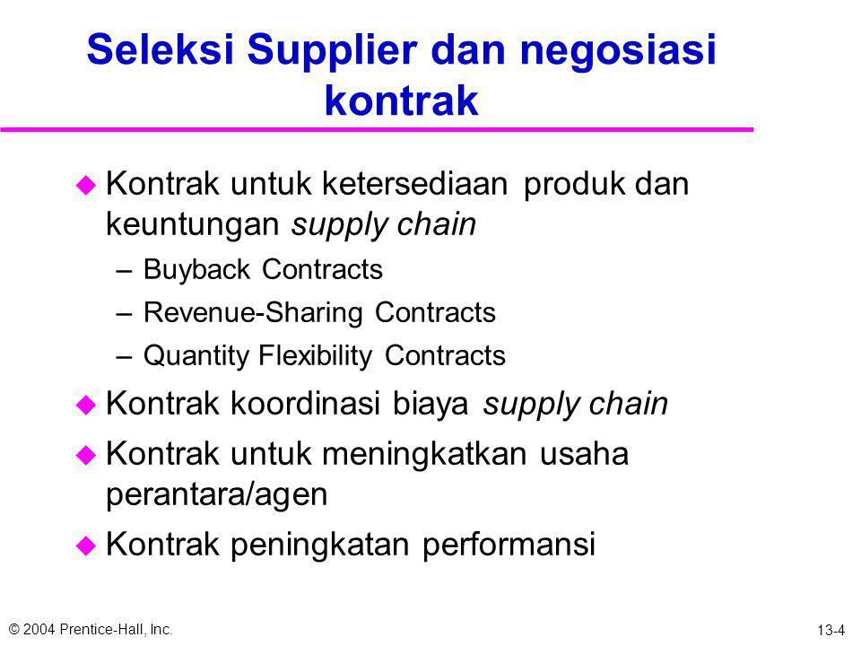 © 2004 Prentice-Hall, Inc. 13-3 Faktor Penilaian Supplier u Replenishment Lead Time u Kinerja tepat waktu u Fleksibilitas Supply u Frekuensi pengirima