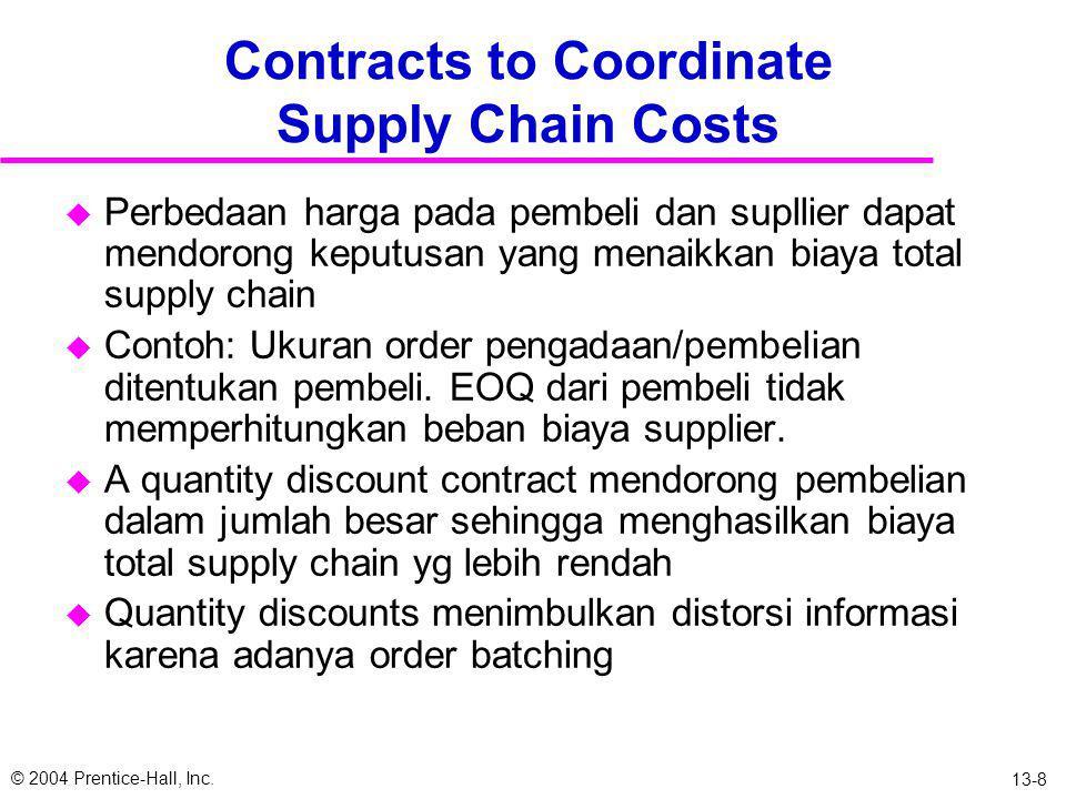 © 2004 Prentice-Hall, Inc. 13-7 3. Quantity Flexibility Contracts u Mengijinkan pembeli mengatur order (dalam limit) selama permintaan meningkat mende
