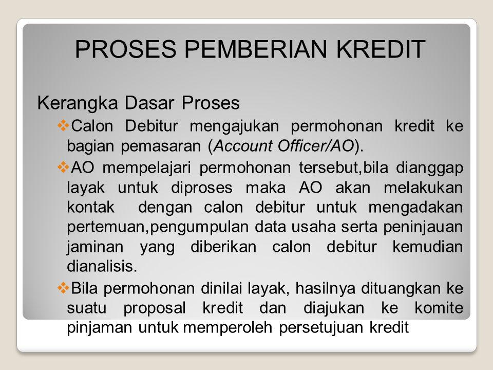 PROSES PEMBERIAN KREDIT Kerangka Dasar Proses  Calon Debitur mengajukan permohonan kredit ke bagian pemasaran (Account Officer/AO).  AO mempelajari