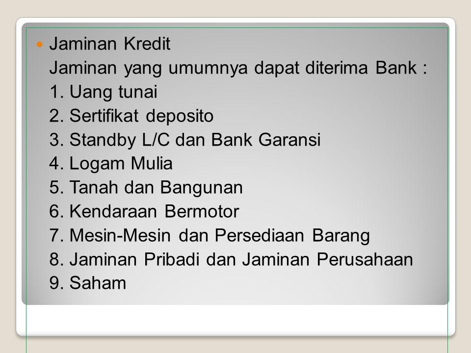 Jaminan Kredit Jaminan yang umumnya dapat diterima Bank : 1. Uang tunai 2. Sertifikat deposito 3. Standby L/C dan Bank Garansi 4. Logam Mulia 5. Tanah