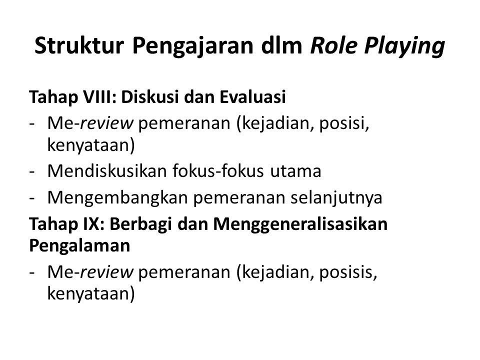 Struktur Pengajaran dlm Role Playing Tahap VIII: Diskusi dan Evaluasi -Me-review pemeranan (kejadian, posisi, kenyataan) -Mendiskusikan fokus-fokus ut