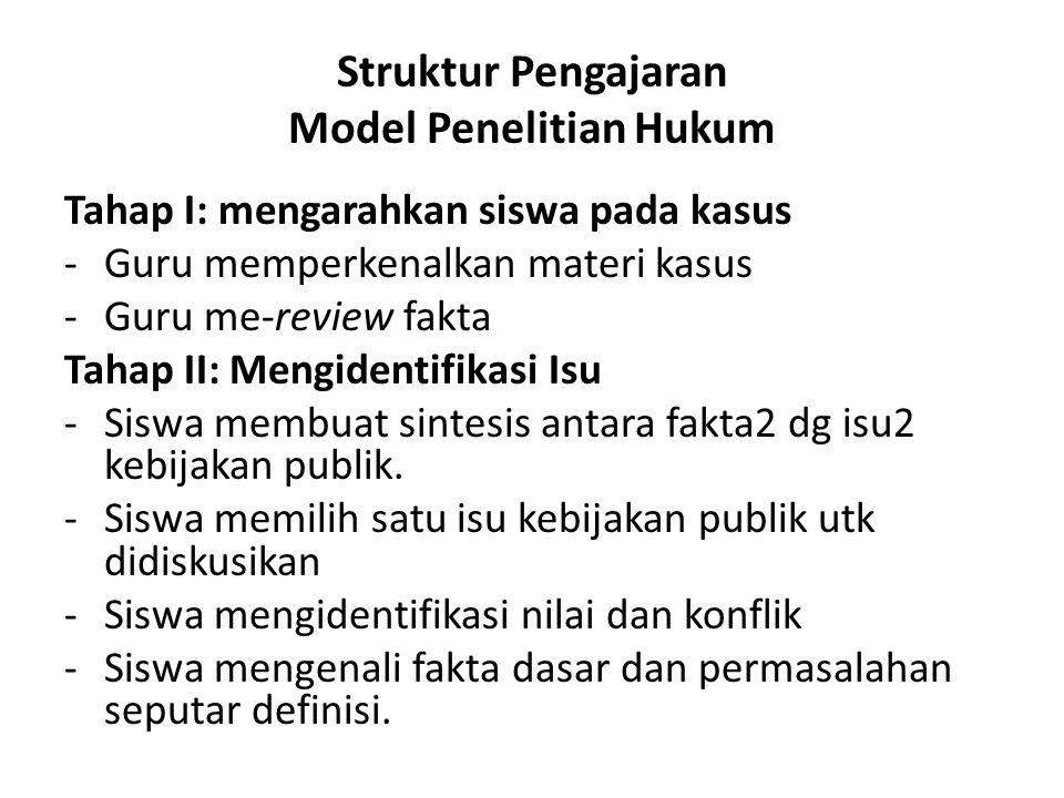 Struktur Pengajaran Model Penelitian Hukum Tahap I: mengarahkan siswa pada kasus -Guru memperkenalkan materi kasus -Guru me-review fakta Tahap II: Men