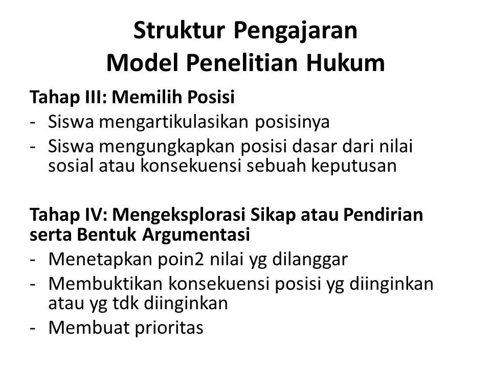Struktur Pengajaran Model Penelitian Hukum Tahap III: Memilih Posisi -Siswa mengartikulasikan posisinya -Siswa mengungkapkan posisi dasar dari nilai s