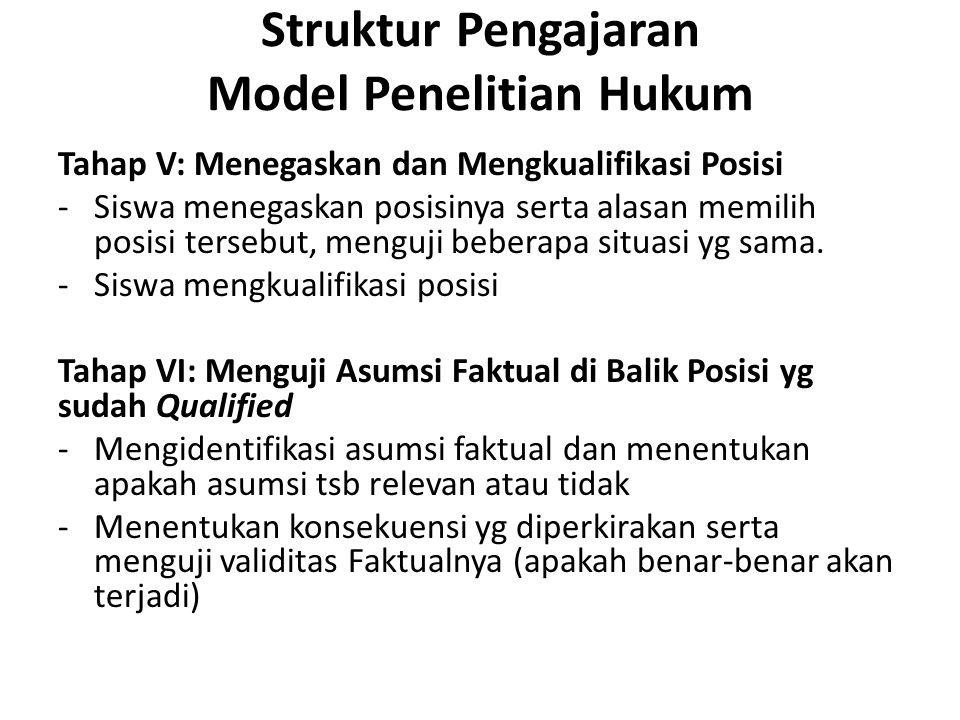 Struktur Pengajaran Model Penelitian Hukum Tahap V: Menegaskan dan Mengkualifikasi Posisi -Siswa menegaskan posisinya serta alasan memilih posisi ters