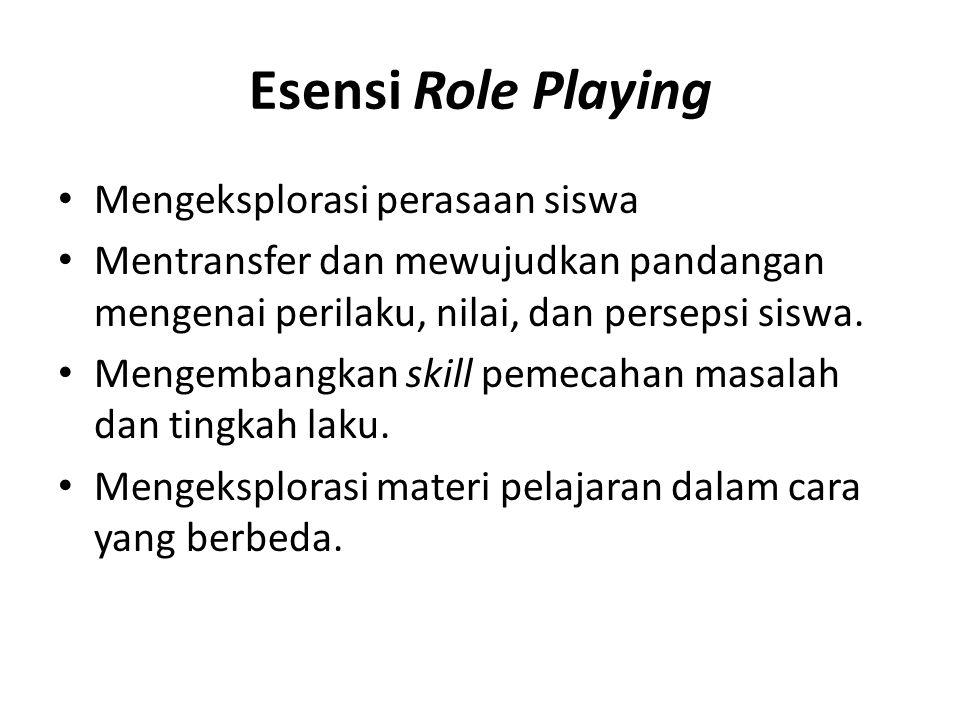 Esensi Role Playing Melalui Role Playing, proses psikologi secara tersembunyi melibatkan perilaku pribadi, nilai, dan sistem kepercayaan siswa, diharapkan dapat menumbuhkan semangat siswa untuk menggabungkan proses pengembangan yang dilakukan secara spontan dengan analisis yang dilakukannya.