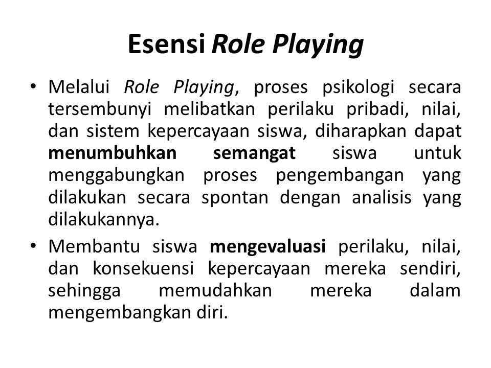 Esensi Role Playing Melalui Role Playing, proses psikologi secara tersembunyi melibatkan perilaku pribadi, nilai, dan sistem kepercayaan siswa, dihara