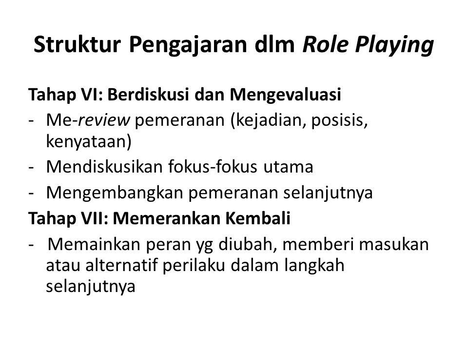 Struktur Pengajaran dlm Role Playing Tahap VIII: Diskusi dan Evaluasi -Me-review pemeranan (kejadian, posisi, kenyataan) -Mendiskusikan fokus-fokus utama -Mengembangkan pemeranan selanjutnya Tahap IX: Berbagi dan Menggeneralisasikan Pengalaman -Me-review pemeranan (kejadian, posisis, kenyataan)