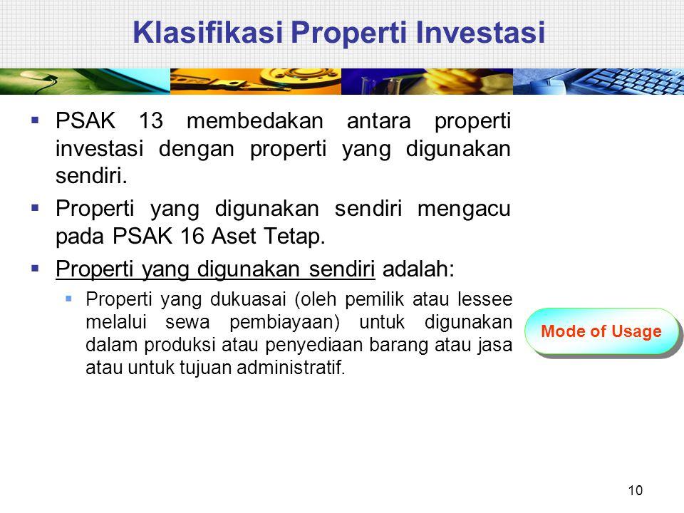 Klasifikasi Properti Investasi  PSAK 13 membedakan antara properti investasi dengan properti yang digunakan sendiri.  Properti yang digunakan sendir