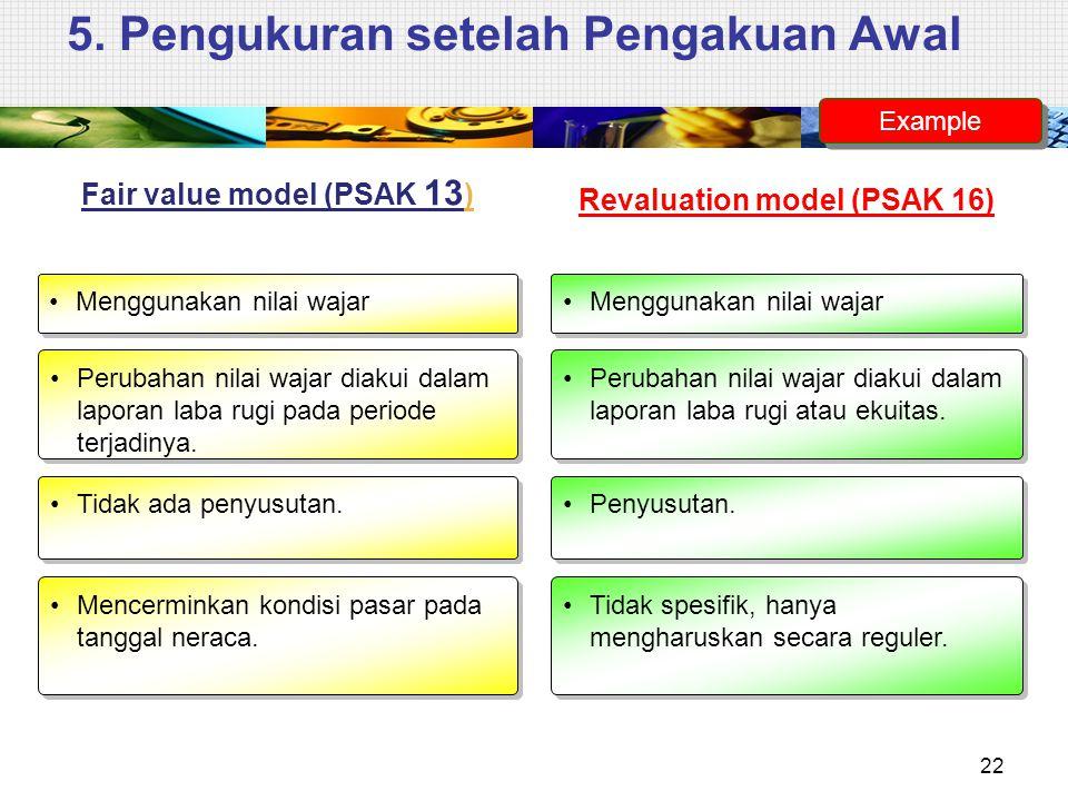 5. Pengukuran setelah Pengakuan Awal Fair value model (PSAK 13 ) Menggunakan nilai wajar Revaluation model (PSAK 16) Perubahan nilai wajar diakui dala