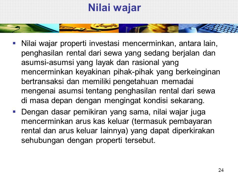 Nilai wajar  Nilai wajar properti investasi mencerminkan, antara lain, penghasilan rental dari sewa yang sedang berjalan dan asumsi-asumsi yang layak