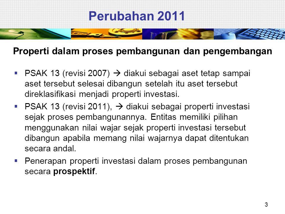 Ikhtisar Perbedaan 4 PERIHALPSAK 30 (revisi 2011)PSAK 30 (revisi 2007) DefinisiTidak mengatur definisi tentang penghentian pengakuan Mengatur definisi tentang penghentian pengakuan properti investasi dalam proses pebangunan dan pengembangan Diakui sebagai properti investasiDiakui sebagai aset tetap dan perlakuannya mengacu ke PSAK 16: Aset Tetap sampai properti investasi selesai dibangun.