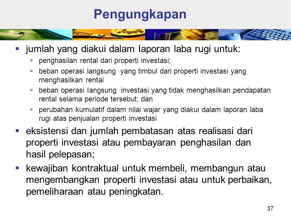 Pengungkapan  jumlah yang diakui dalam Iaporan laba rugi untuk:  penghasilan rental dari properti investasi;  beban operasi langsung yang timbul da
