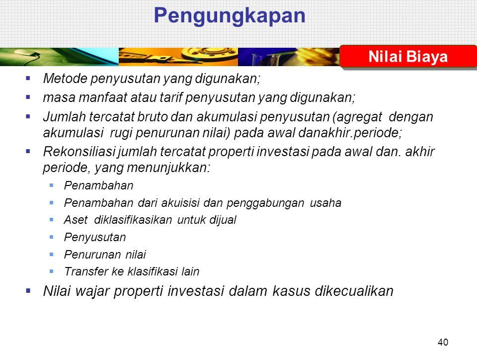 Pengungkapan  Metode penyusutan yang digunakan;  masa manfaat atau tarif penyusutan yang digunakan;  Jumlah tercatat bruto dan akumulasi penyusutan