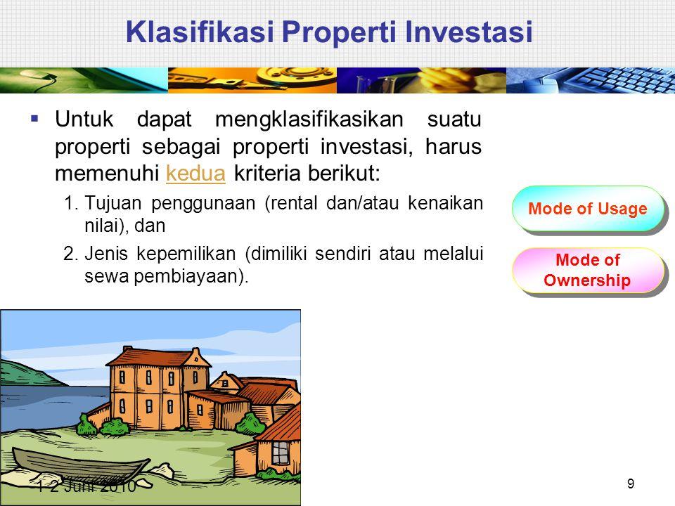 Klasifikasi Properti Investasi  Untuk dapat mengklasifikasikan suatu properti sebagai properti investasi, harus memenuhi kedua kriteria berikut: 1.Tu