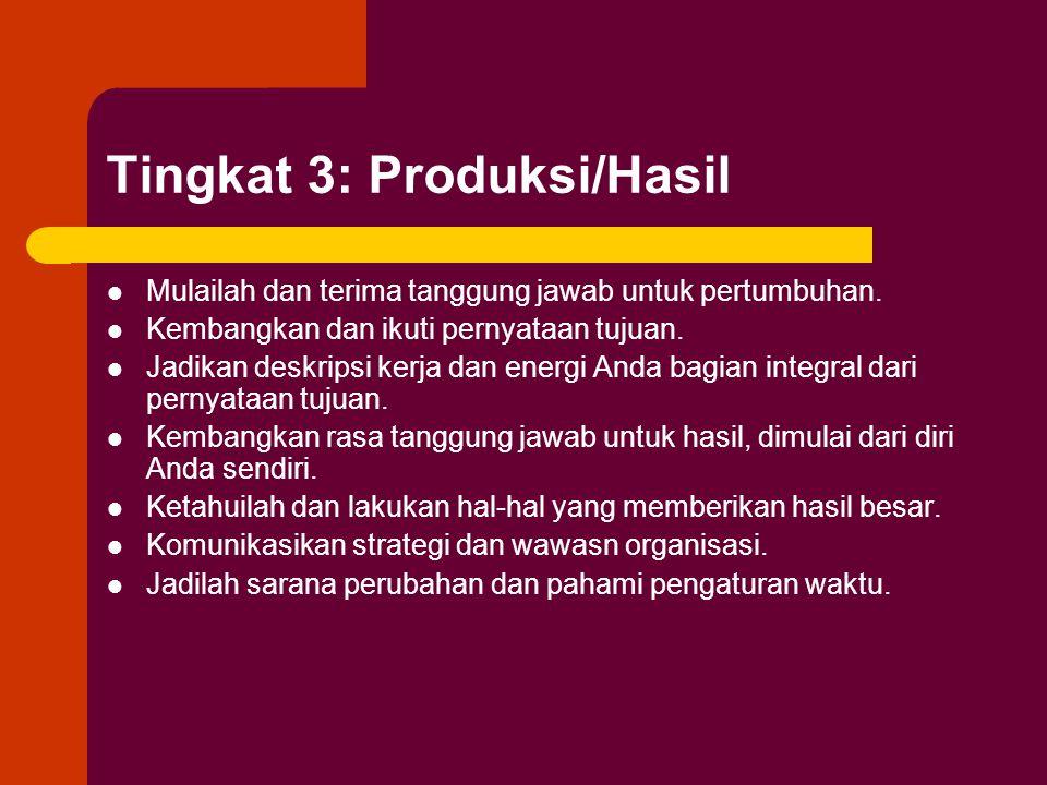Tingkat 3: Produksi/Hasil Mulailah dan terima tanggung jawab untuk pertumbuhan.