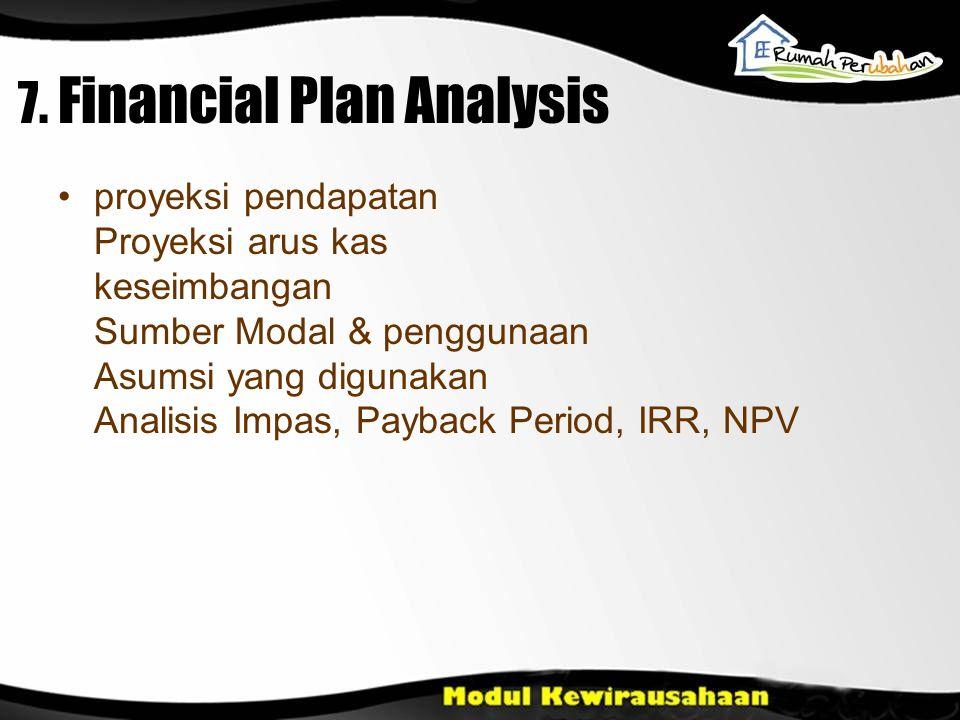 7. Financial Plan Analysis proyeksi pendapatan Proyeksi arus kas keseimbangan Sumber Modal & penggunaan Asumsi yang digunakan Analisis Impas, Payback