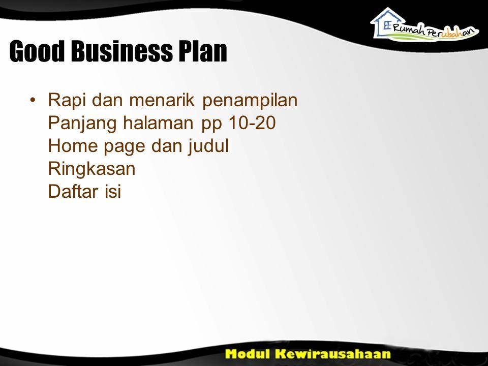 Good Business Plan Rapi dan menarik penampilan Panjang halaman pp 10-20 Home page dan judul Ringkasan Daftar isi