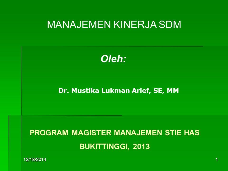 12/18/20141 MANAJEMEN KINERJA SDM Oleh: Dr.