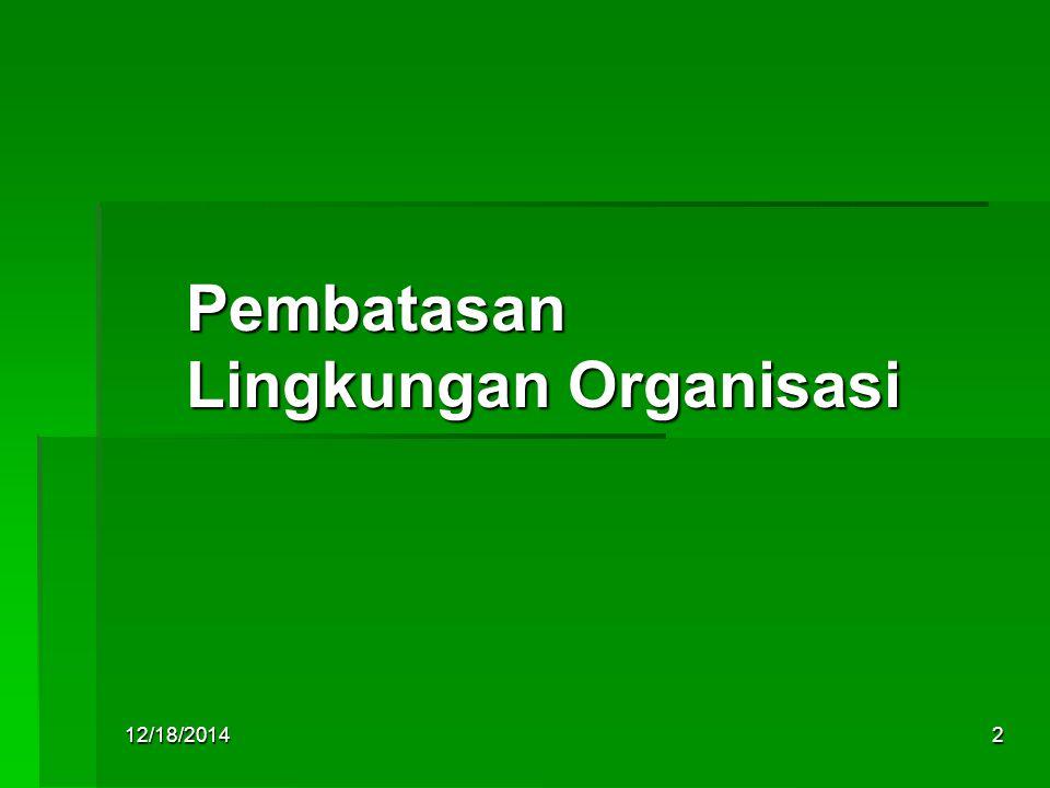 12/18/20142 Pembatasan Lingkungan Organisasi