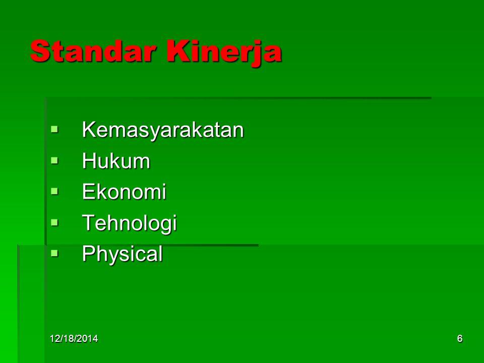 12/18/20146 Standar Kinerja  Kemasyarakatan  Hukum  Ekonomi  Tehnologi  Physical