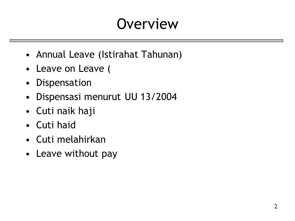 2 Overview Annual Leave (Istirahat Tahunan) Leave on Leave ( Dispensation Dispensasi menurut UU 13/2004 Cuti naik haji Cuti haid Cuti melahirkan Leave