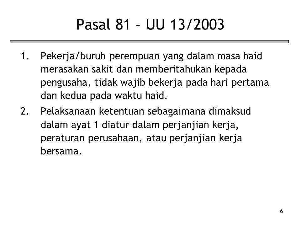 6 Pasal 81 – UU 13/2003 1.Pekerja/buruh perempuan yang dalam masa haid merasakan sakit dan memberitahukan kepada pengusaha, tidak wajib bekerja pada h
