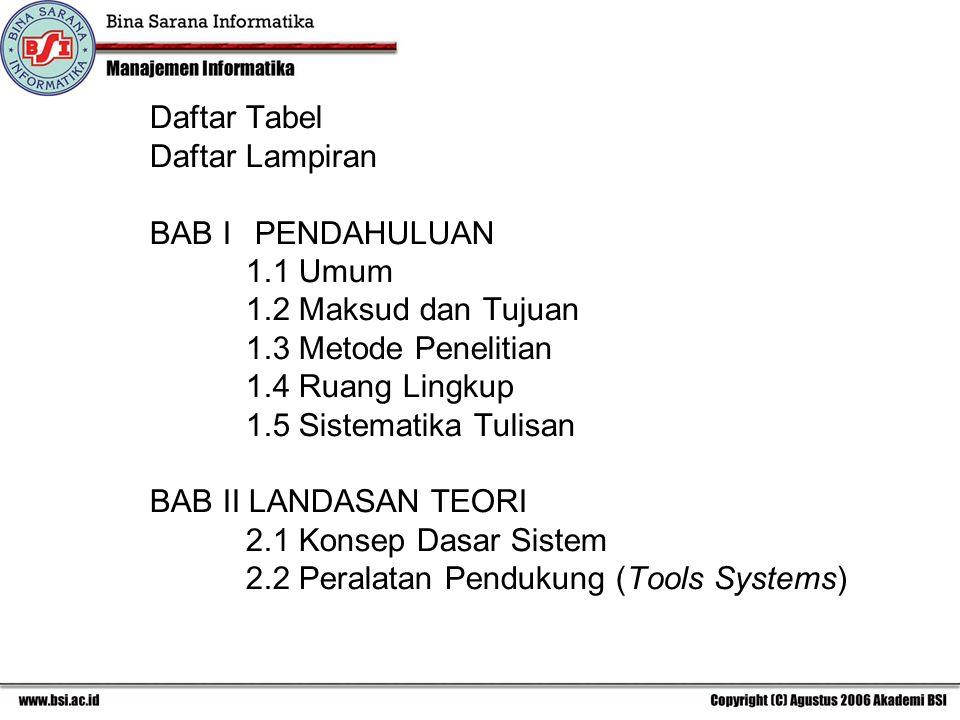 Daftar Tabel Daftar Lampiran BAB I PENDAHULUAN 1.1 Umum 1.2 Maksud dan Tujuan 1.3 Metode Penelitian 1.4 Ruang Lingkup 1.5 Sistematika Tulisan BAB II LANDASAN TEORI 2.1 Konsep Dasar Sistem 2.2 Peralatan Pendukung (Tools Systems)