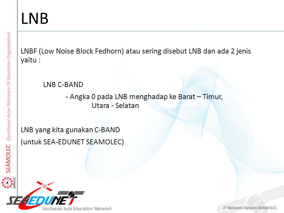 LNB LNBF (Low Noise Block Fedhorn) atau sering disebut LNB dan ada 2 jenis yaitu : LNB C-BAND - Angka 0 pada LNB menghadap ke Barat – Timur, Utara - S