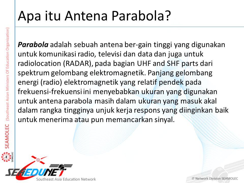 Apa itu Antena Parabola? Parabola adalah sebuah antena ber-gain tinggi yang digunakan untuk komunikasi radio, televisi dan data dan juga untuk radiolo