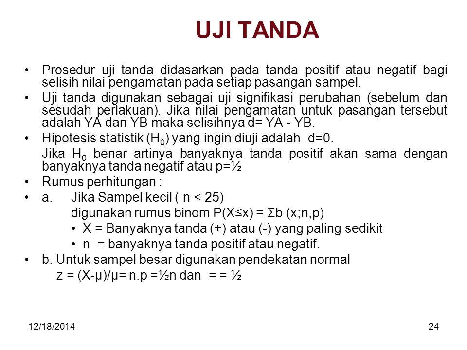 12/18/201424 UJI TANDA Prosedur uji tanda didasarkan pada tanda positif atau negatif bagi selisih nilai pengamatan pada setiap pasangan sampel. Uji ta