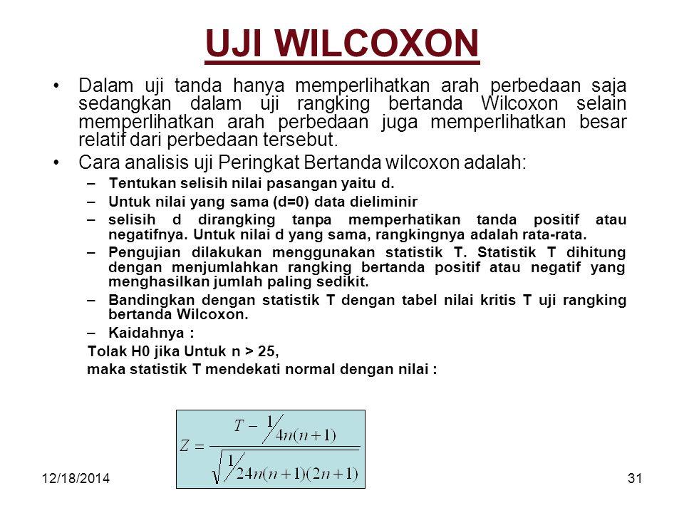 12/18/201431 UJI WILCOXON Dalam uji tanda hanya memperlihatkan arah perbedaan saja sedangkan dalam uji rangking bertanda Wilcoxon selain memperlihatka