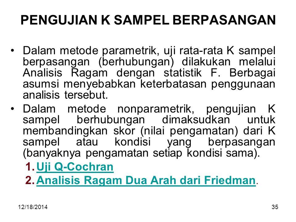 12/18/201435 PENGUJIAN K SAMPEL BERPASANGAN Dalam metode parametrik, uji rata-rata K sampel berpasangan (berhubungan) dilakukan melalui Analisis Ragam