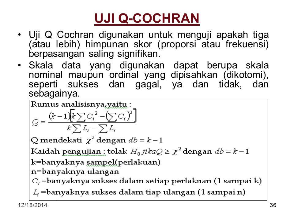 12/18/201436 UJI Q-COCHRAN Uji Q Cochran digunakan untuk menguji apakah tiga (atau lebih) himpunan skor (proporsi atau frekuensi) berpasangan saling s